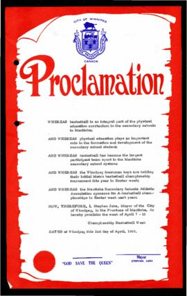 Proclamation - Championship Basketball Week