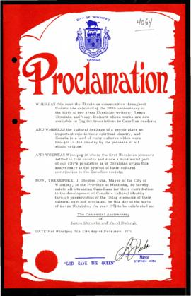 Proclamation - The Centennial Anniversary of Lesya Ukrainka and Vasyl Stefanyk