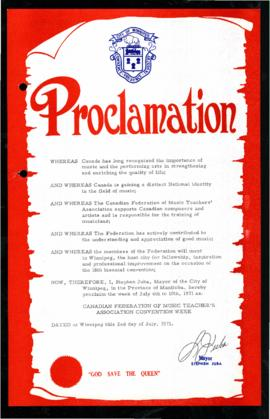 Proclamation - Canadian Federation of Music Teacher's Association Convention Week