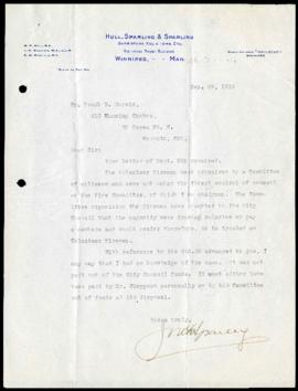 Alderman J.K. Sparling to Frank R. Morris regarding compensation for his work as volunteer fireman during the General Strike