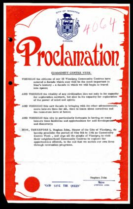 Proclamation - Community Centre Week