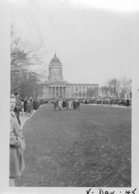 V Day in Winnipeg showing Legislative Building in background