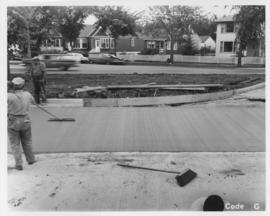 Pavement construction Project G, Pembina Highway (between Corydon Avenue and Grant Avenue), August 23, 1963