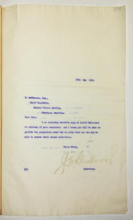 J.H. Blackwood to Chief Donald MacPherson regarding policing of City parks