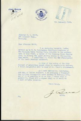 Letter from Mayor John Queen to Alderman C.R. Smith