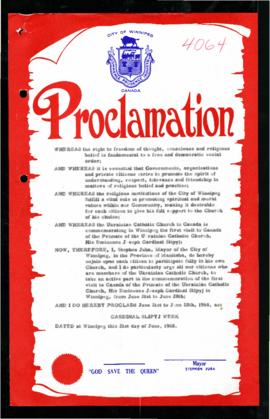 Proclamation - Cardinal Slipyj Week