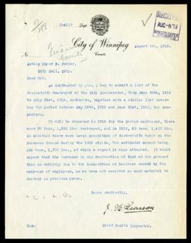 Chief Health Inspector to Mayor Fowler regarding food stuffs destroyed from May 15 to July 31, 1919