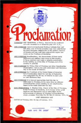 Proclamation - Leif Eiriksson Day