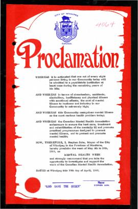 Proclamation - Mental Health Week