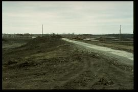1997 flood - Courchaine Road at the floodway gates - earthen dike