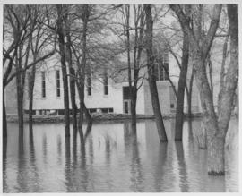 Flood waters against dyke in front of Shaarey Zedek Synagogue, 1950 Flood
