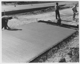 Pavement construction Project C, Corydon Avenue (between Laidlaw Boulevard and Bower Boulevard), north lane of westbound traffic road, September 6, 1962