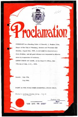 Proclamation - Civic-Holiday