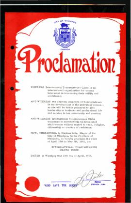 Proclamation - International Toastmistress Clubs Week