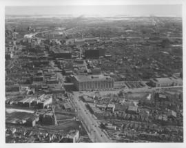 Aerial view of Winnipeg looking east on Portage Avenue towards Main Street probably from over Lan...