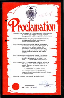 Proclamation - Barbershop Harmony Week