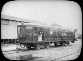 Passengers aboard GWWD Railway Service car at St. Boniface Station