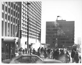 Looking east on Portage Avenue East prior to the opening of the Portage and Main underground pedestrian concourse on February 23, 1979