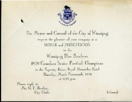 Invitation - Dinner and Presentation to the Winnipeg Blue Bombers