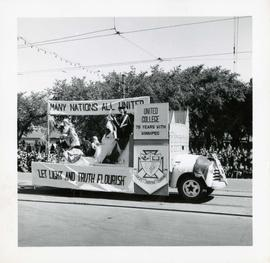 Winnipeg's 75th Anniversary parade - United College float