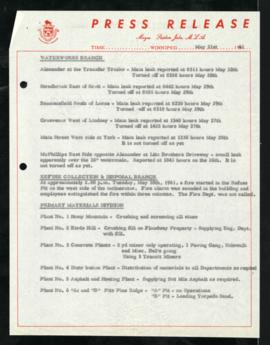 Press Release - May 31, 1961 Branch Updates