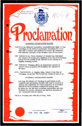 Proclamation - National Recreation Month