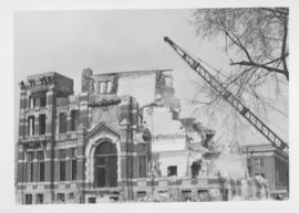 Demolition of Winnipeg City Hall, North side of building down