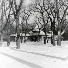 Old Kildonan Park Pavilion in winter