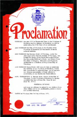 Proclamation - Festival of Song