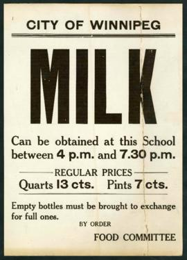 Poster advertising milk distribution location