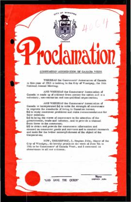 Proclamation - Consumers' Association of Canada Week