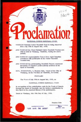 Proclamation - National Junior Baseball Week