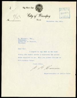 G.A. Harrison to Committee on Finance regarding a badge lost during the strike