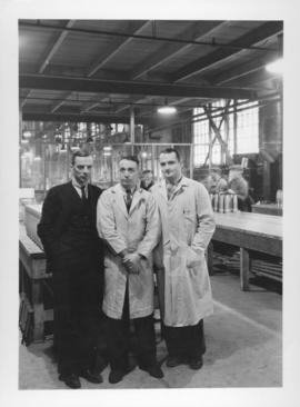 Time Keeper McWee, Machine Shop Foreman Bert Lug, and Plant Manager William Daum at Dominion Brid...