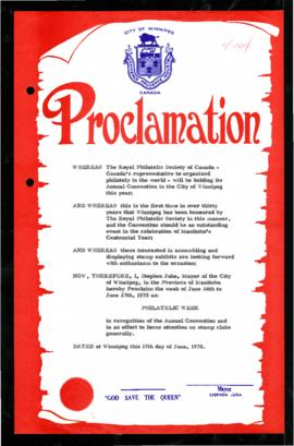 Proclamation - Philatelic Week