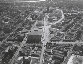 Aerial view of Winnipeg looking south on Memorial Boulevard toward Legislative Building