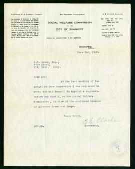 Social Welfare Commission to the City Clerk regarding a replacement for Alderman A.A. Heaps