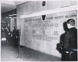 Unveiling of dedication wall in foyer of Public Safety Building