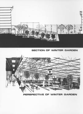 Downtown Winnipeg - Section and Interior View of Winter Garden