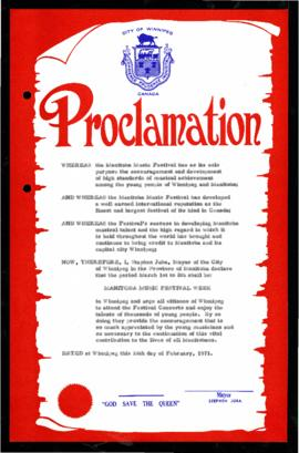 Proclamation - Manitoba Music Festival Week
