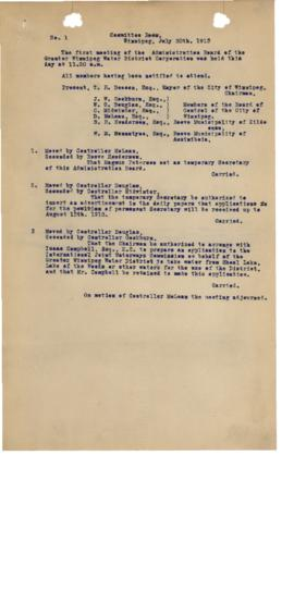 GWWD Board of Administration Minutes, numbers 1-3