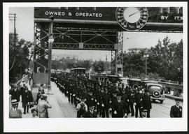 Police on Osborne Street Bridge during 1935 parade