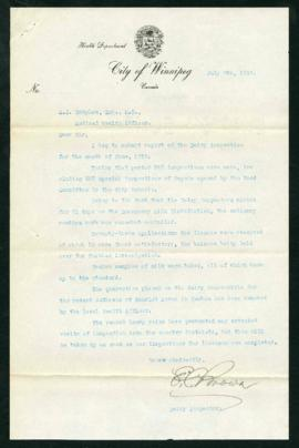 Report on Dairy Inspection for June, 1919