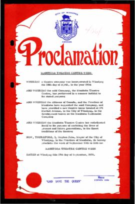 Proclamation - Manitoba Theatre Centre Week