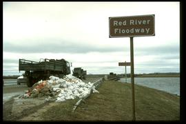 1997 flood - Mouth of the floodway (south end) - military personnel