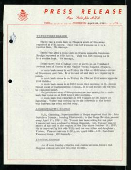 Press Release - April 24, 1961 Branch Updates