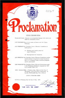 Proclamation - Cystic Fibrosis Week