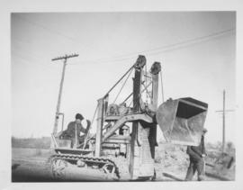 Grading for new road, Valour Road, south of Wellington, Caterpillar, #109 - 1947