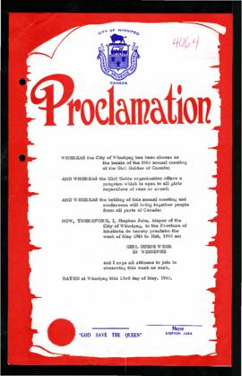 Proclamation - Girl Guide Week in Winnipeg