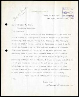 Student to Mayor Gray regarding sources for research on the General Strike